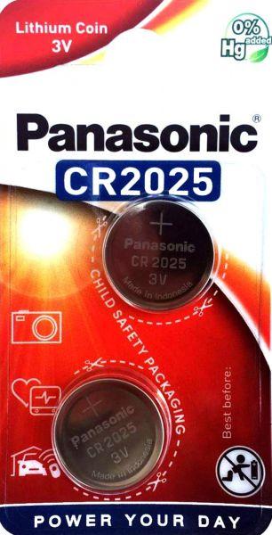 Panasonic Knopfzelle Lithium CR2025 Batterie 2er Blister 3V DL2025 BR2025 KCR2025 LM2025 CR-2025EL/2B