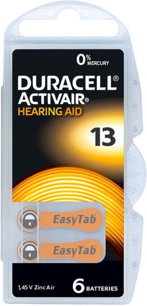 Duracell Activair Gr. 13 Hörgerätebatterien 6er Blister PR48 Orange 24606