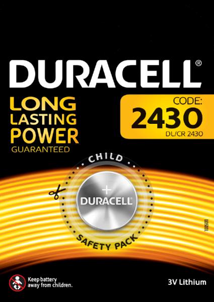Duracell 1er Blister CR2430 Spezielle Lithium Knopfzelle 3V Specialty DL2430 2430