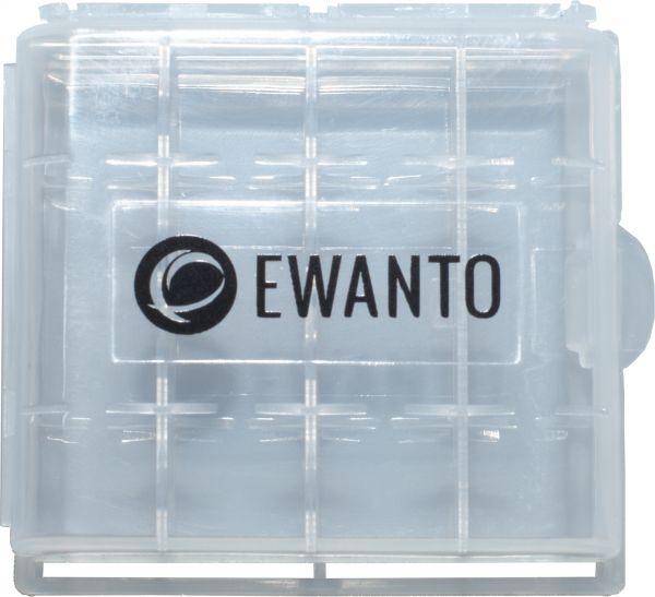 EWANTO Batteriebox / Akkubox zu Aufbewahrung von 4 Stk. Mignon (AA) oder Micro (AAA) Batterien und Akkus mit Logo E014003