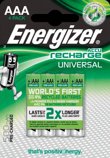 Energizer Recharge Universal AAA 500 mAh Akku 4er Blister NiMh Micro Accu 1,2V, HR03 E301375700