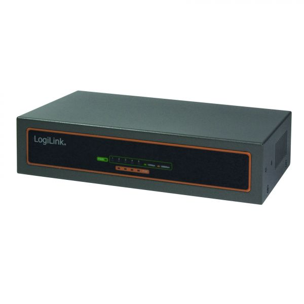 LogiLink PoE Switch, 10/100/1000M PoE, 5-port