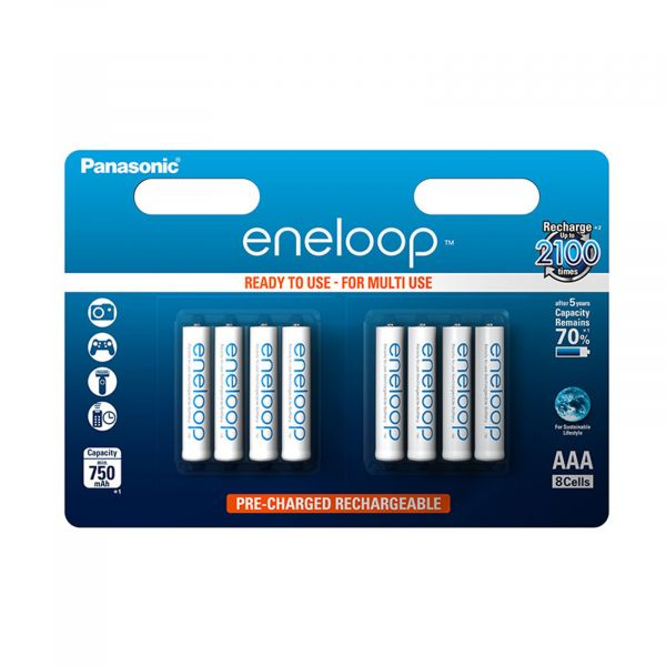Panasonic eneloop AAA Akkus 8er Blister 750mAh Micro NiMH Ready-to-Use R03 weiß BK-4MCCE/8BE