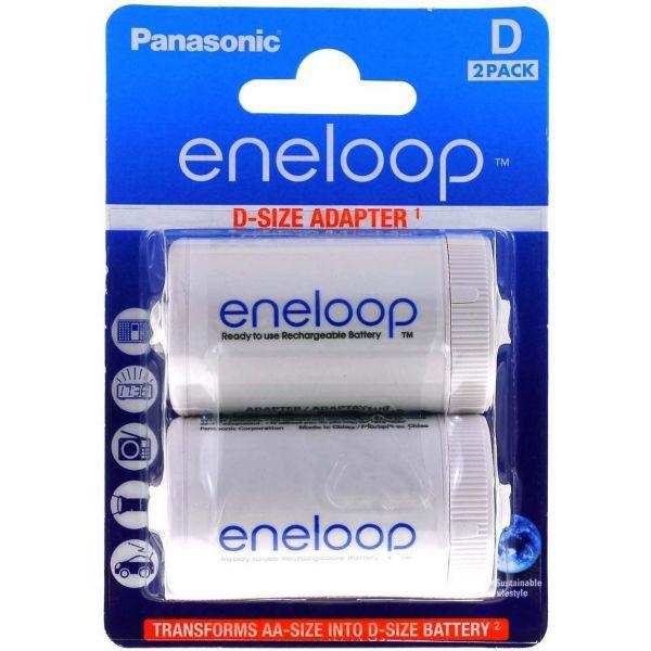 Panasonic Adapter Eneloop AA (R6) nach D (R20) für 1x AA - 2er Blister Spacer BQ-BS1E/2E