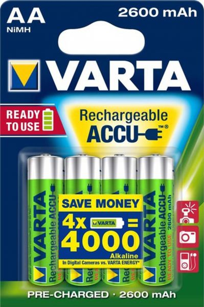 Varta 5716 AA Akku Mignon NiMH 2600mAh Ready to use 4er Blister
