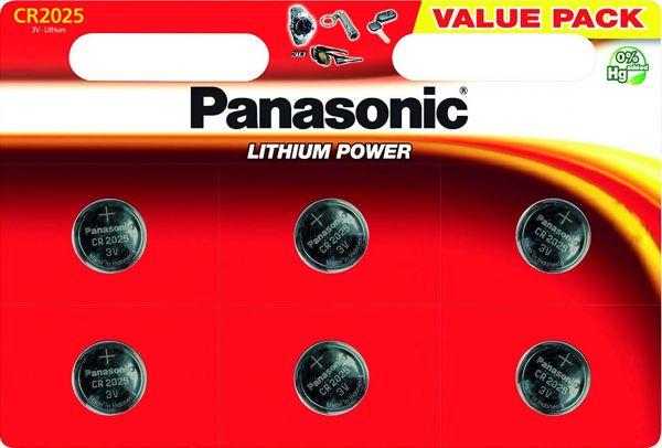 Panasonic Knopfzelle Lithium CR2025 6er Blister 3V CR-2025EL/6BP