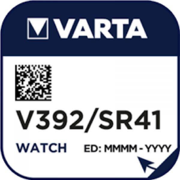 Varta Watch V 392 Uhrenzelle Knopfzelle SR 41 W V392 Silber-Oxid 40mAh 1,55 V 1er Blister V 392