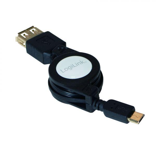 LogiLink Ausziehbares USB OTG Kabel AF Micro BM OTG 0,75m AA0069