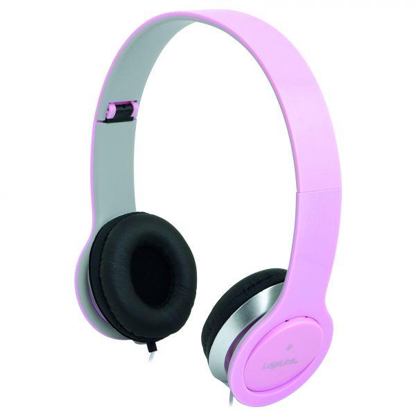 LogiLink Headset Stereo mit Mikrofon 3.5mm pink