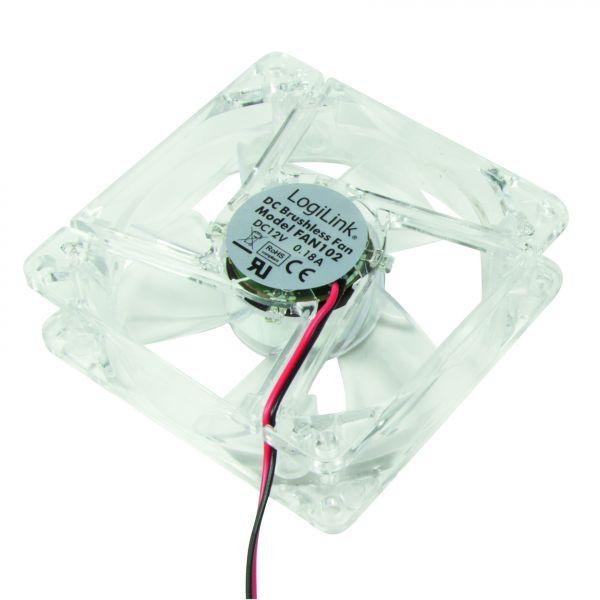 LogiLink Fan 80*80*25, acryl, with 4 LEDs, blue