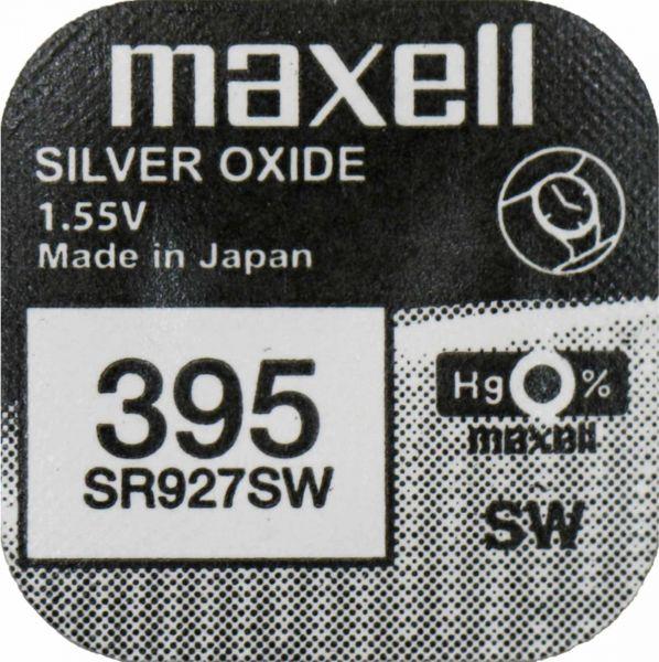 Maxell 395 Uhrenzelle Silber Oxid Knopfzelle SR 927 SW V395 M395 50mAh 1,55 V 1er Blister SR927SW