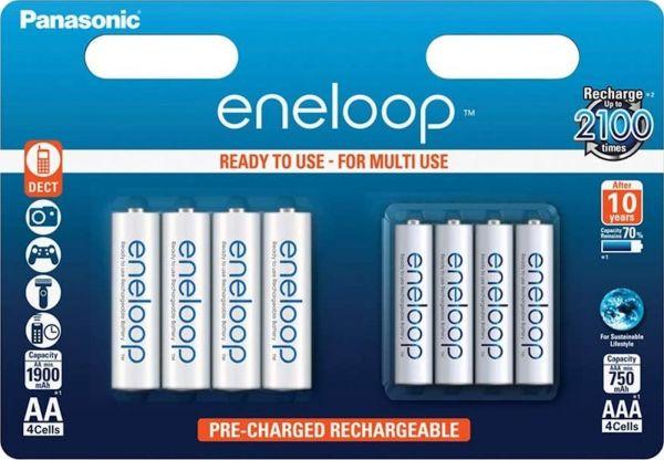 Panasonic eneloop AA Akku 4er Blister R6 + eneloop AAA Akku 4er Blister R03 im Kombiblister BK-KJMCC