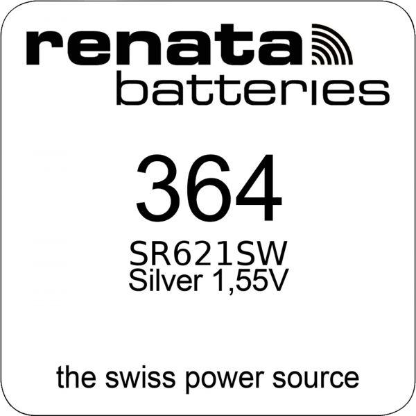 Renata Watch 364 Uhrenbatterie SR621SW MF 0% Mercury 1,55 V Battery 1er Blister 364