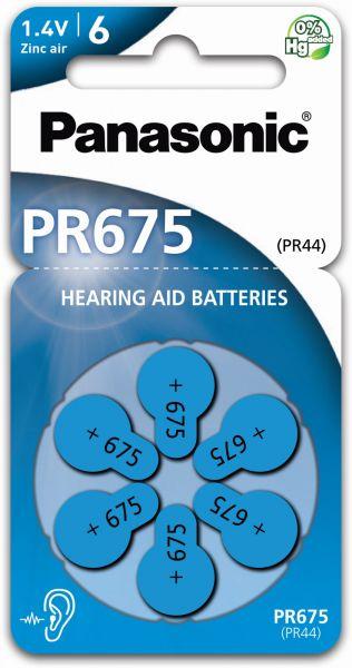 Panasonic Gr. 675 Hörgerätebatterien 6er Blister PR44 Blau 24600 PR-675 2A712449