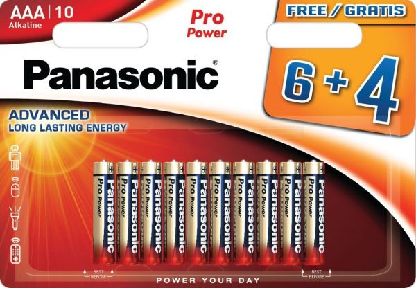 Panasonic Pro Power Micro AAA, LR03 Alkaline 10er Blister MN2400 LR03XEG/4B LR03PPG/10BW