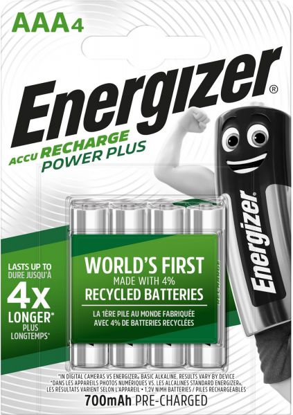 Energizer Power Plus AAA 700 mAh Akku 4er Blister NiMh Micro Accu Recharge 1,2V, HR03 E300850300