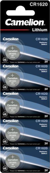 Camelion Lithium Knopfzelle CR1620 1620 3V 5er Blister CR1620-BP5