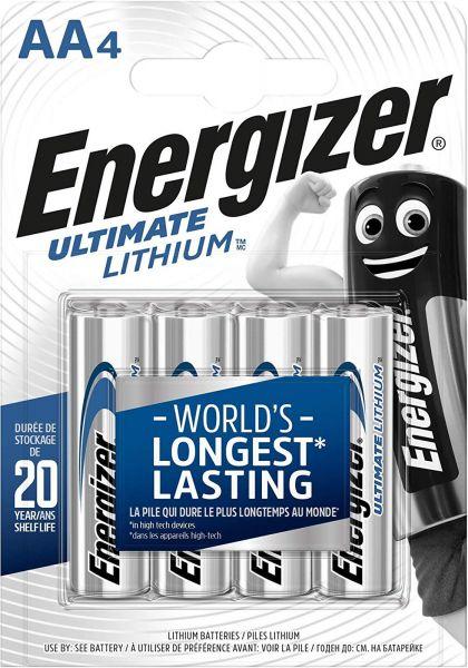 Energizer Ultimate Lithium AA Mignon L91 Batterie 1,5V 3000 mAh FR6 Li-FeS2 4er Blister 637752