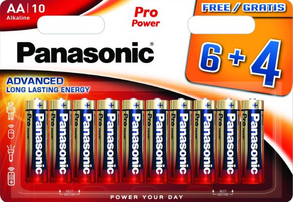 Panasonic Pro Power Mignon AA, LR6 AM3 Alkaline 10er Blister MN1500 LR6XEG/10B4F LR06 LR6PPG/10BW 6+4F