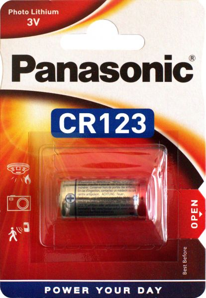 Panasonic Lithium Power Photo Batterie 3V CR123 1400 mAh CR123A 1er Blister CR-123AL