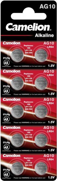 Camelion Alkaline Knopfzelle AG10 LR54 LR1130 389 1,5 V 10er Blister 12051010