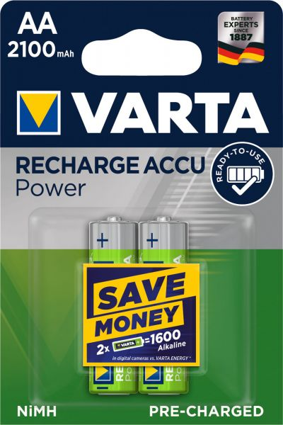 Varta AA Akku Mignon NiMH 2100mAh Ready to use 2er Blister 56706