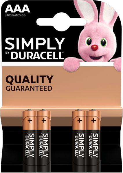 Duracell Simply Alkaline AAA Batterien 4er Blister 1,5 V LR03 Micro Mini Stilo MN2400