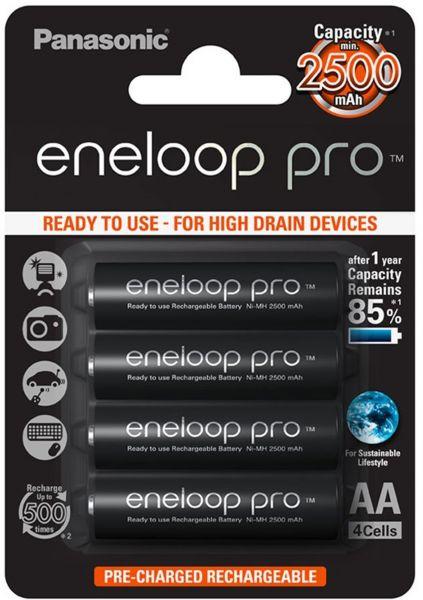 Panasonic eneloop pro 4er Blister AA Akku Mignon 2500 mAh. Ready to use HR6 BK-3HCDE/4BE