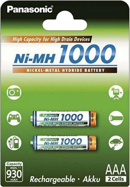 Panasonic AAA Akku Micro Ni-MH 1,2V 1000mAh 2er Blister - High Capacity for High Drain Devices BK-4H