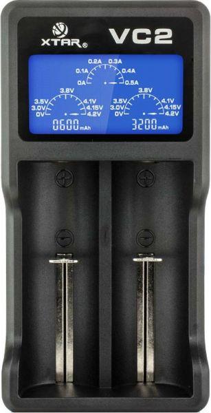 XTAR 2-Schacht USB-Ladegerät Micro USB-Eingang, LC-Display VC2