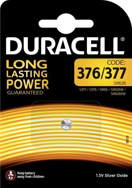 Duracell Specialty 377 Silberoxid-Knopfzellen 1,55 V Uhrenbatterie Knopfzelle 1er Blister D377