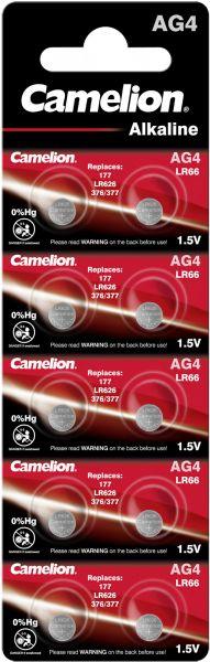 Camelion Alkaline Knopfzelle AG4 LR66 LR626 377 1,5 V 10er Blister AG4-BP10