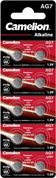 Camelion Alkaline Knopfzelle AG7 LR57 LR927 395 1,5 V 10er Blister AG7-BP10